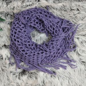 Netted Fringed Infinity Scarf